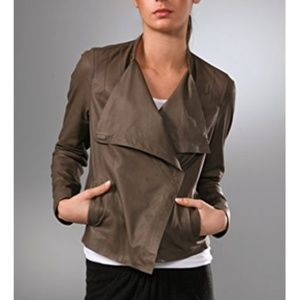 VINCE Cowl Neck Leather Jacket Key Grey Magnetic